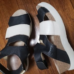 Fly London Wimi Black Off White Wedge Sandals 39